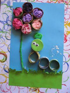 craft, recycle, toiletpaper roll, children, pre-school, knutselen, kinderen, peuters, kleuters, basisschool, rups en bloem van wc-rol, toiletpapier rol, seizoenen, lente