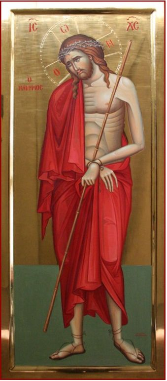 IC.XC__ο Νυμφίος της Εκκλησίας _ΠΑΣΧΑ ( ιcon depicts Christ as the Bridegroom of Church bearing the marks of his suffering yet preparing the way for a marriage feast in his Kingdom He dressed in icon according to the mockery of the Roman guards just prior to his crucifixion The crown symbol of marriage to the Church. The rope - a symbol of bondage to sin and death which was loosed with Christ's death on the Cross. The reed - a symbol of his humility ~ αγιογράφος Σοφία Παπάζογλ...