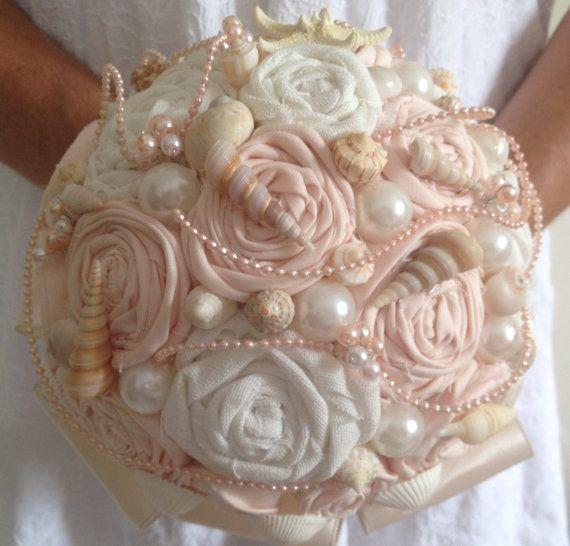 Blush Pink Wedding Bouquet Beach Wedding Bouquet Shell by LCFloral, $90.00