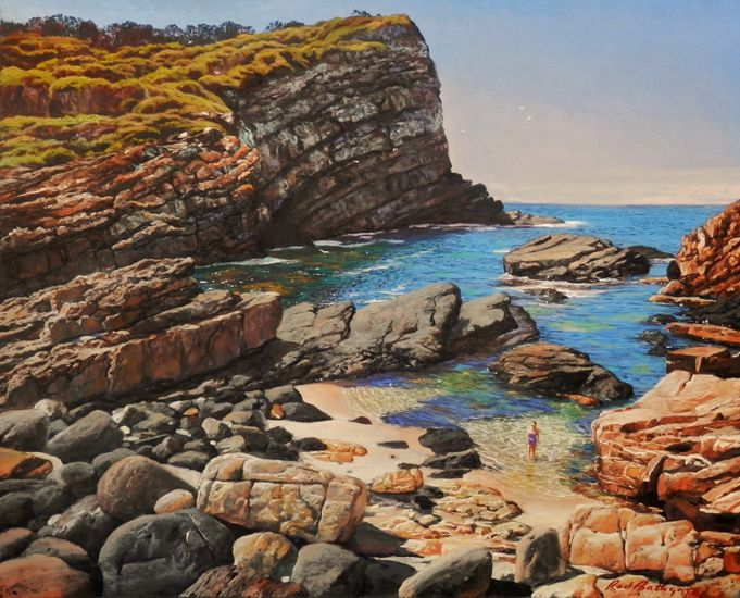 Treasure Cove, Sandbar by Rod Bathgate.  'The Galleries Masters'   Rod is arguably in the top 5 of Australia's best pastel artists. Steve's sculptures capture the viewer's attention because they are foremost colourful. Browse & buy here: http://goo.gl/Zxnvm1 #art #australianart #chg