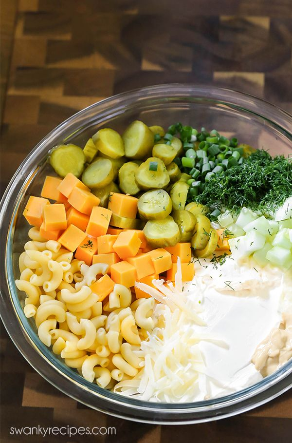 Pickle Salad Ingredients In A Mixing Bowl Sour Cream Mayo Sliced Dill Pickles Cucumb Cold Pasta Salad Recipes Dill Pickle Pasta Salad Summer Macaroni Salad