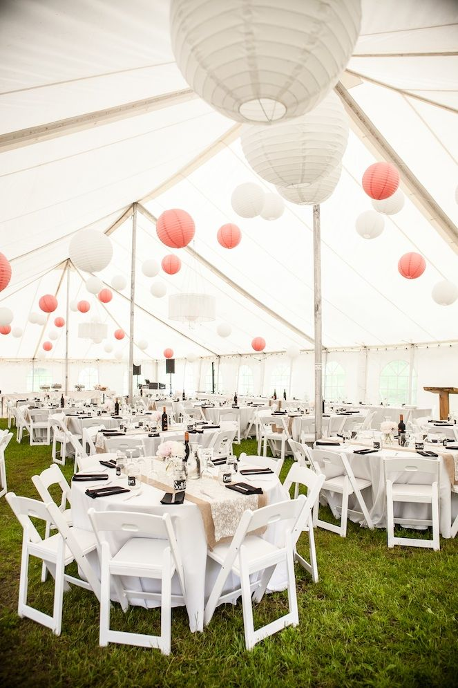 Pink and white paper lanterns are the perfect decor for a casual wedding reception (Image by Sugar & Soul Photography)