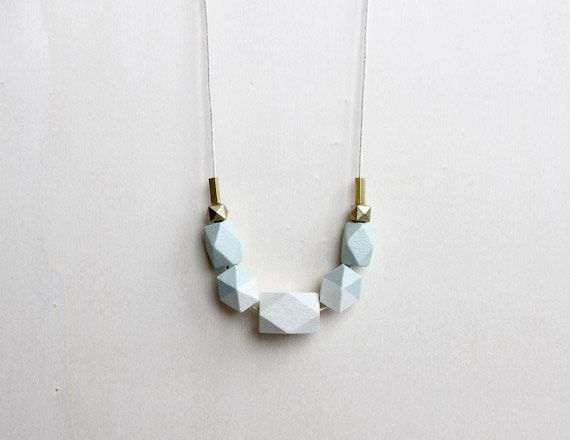 pastel wooden geometric necklace // light green dipped necklace for girls, women - minimalist everyday jewelry - eco-friendly