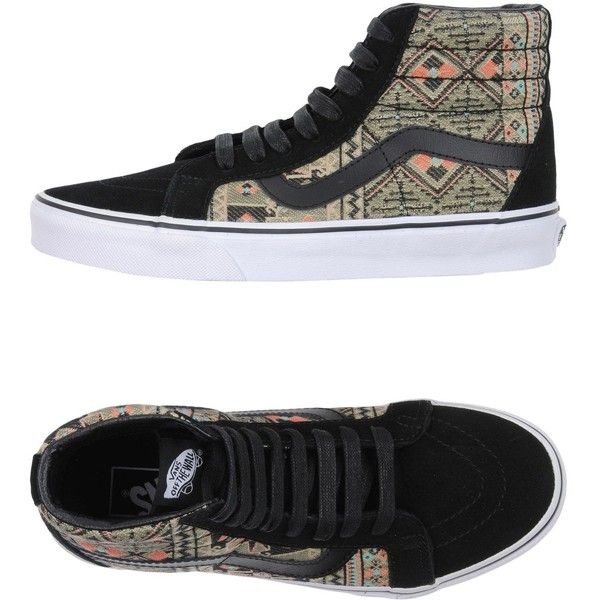 Vans Sneakers ($104) ❤ liked on Polyvore featuring shoes, sneakers, black, black leather sneakers, black leather shoes, vans trainers, leather shoes and leather trainers