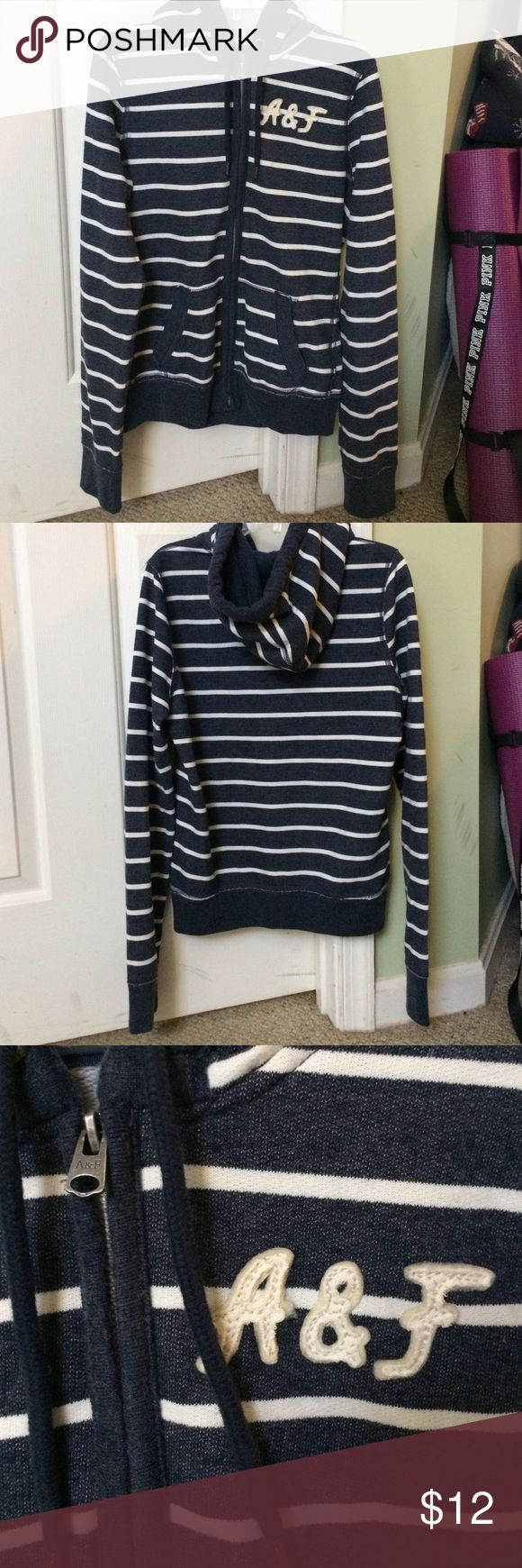 Abercrombie and Fitch Zip Hoodie Blue and white stripped zip up hoodie. Very soft and goes great with jeans or leggings. Abercrombie & Fitch Tops Sweatshirts & Hoodies