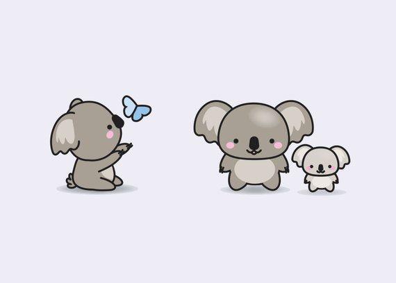 Premium Vector Clipart Kawaii Koala Cute Koalas Clipart Set High Quality Vectors Instant Download Kawaii Clipart Koala Drawing Koala Illustration Koala Tattoo