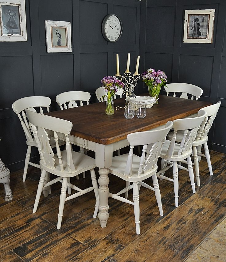 Dine in style with our fabulous 8 seater farmhouse set, painted in Farrow & Ball Wimbourne White & Cornforth White ... perfect for getting the family around! http://www.thetreasuretrove.co.uk/tables/8-seater-farmhouse-dining-set-in-farrow-and-ball-wimbourne-white
