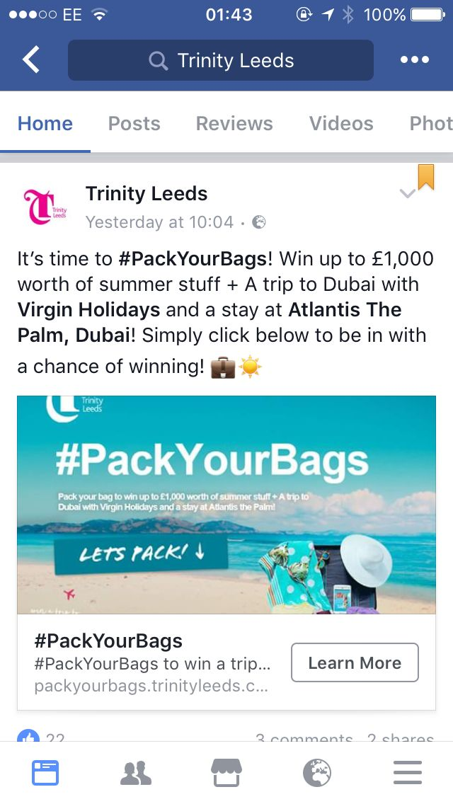 "Trinity Leeds is running a social competition which has seen them partner up with loads of their biggest fashion and accessory retailers to do a big giveaway. Users enter the competition by ""packing their bag"" with their ideal holiday wear and if they're lucky, they'll win it all alongside a holiday to Dubai!"