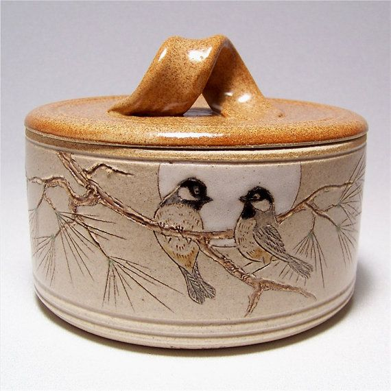Black Capped Chickadees and Pine Lidded Crock Jar by JimAndGina, $40.00 See it in this treasury on Etsy: http://www.etsy.com/treasury/NTM2NzkzMHwyMDI3MDQ2ODM5/its-all-about-the-brioleche?index=56