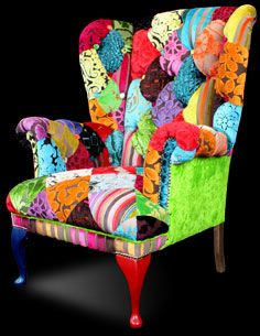 patchwork wing chair