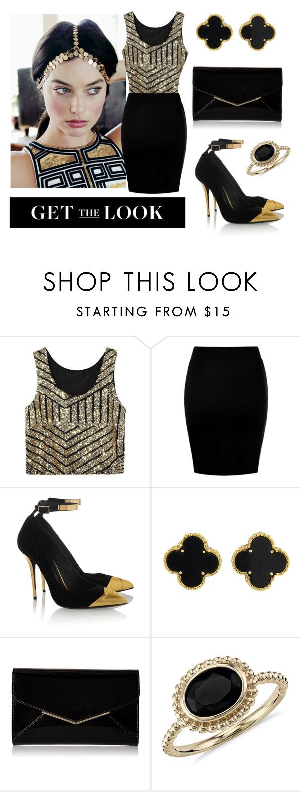 """""""Glitter Girl"""" by thoughts-of-thea ❤ liked on Polyvore featuring Balmain, Van Cleef & Arpels, Furla, Blue Nile, blackandgold, Luxe, aussie and margotrobbie"""