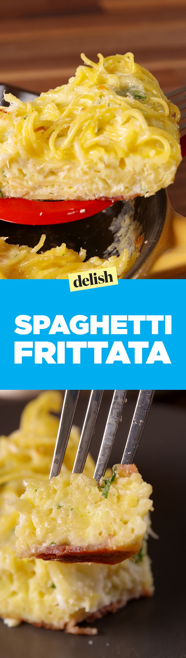 This Spaghetti Frittata pie is the best thing to do with leftover pasta. Get the recipe on Delish.com.