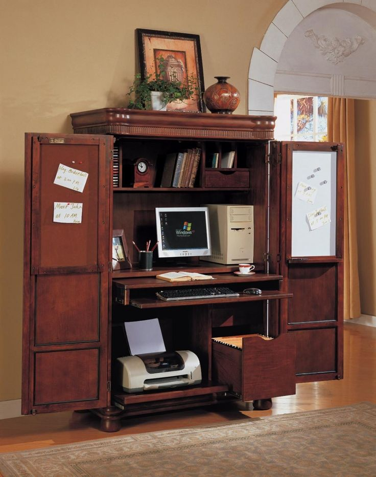 computer armoire great idea to shut away clutter since. Black Bedroom Furniture Sets. Home Design Ideas