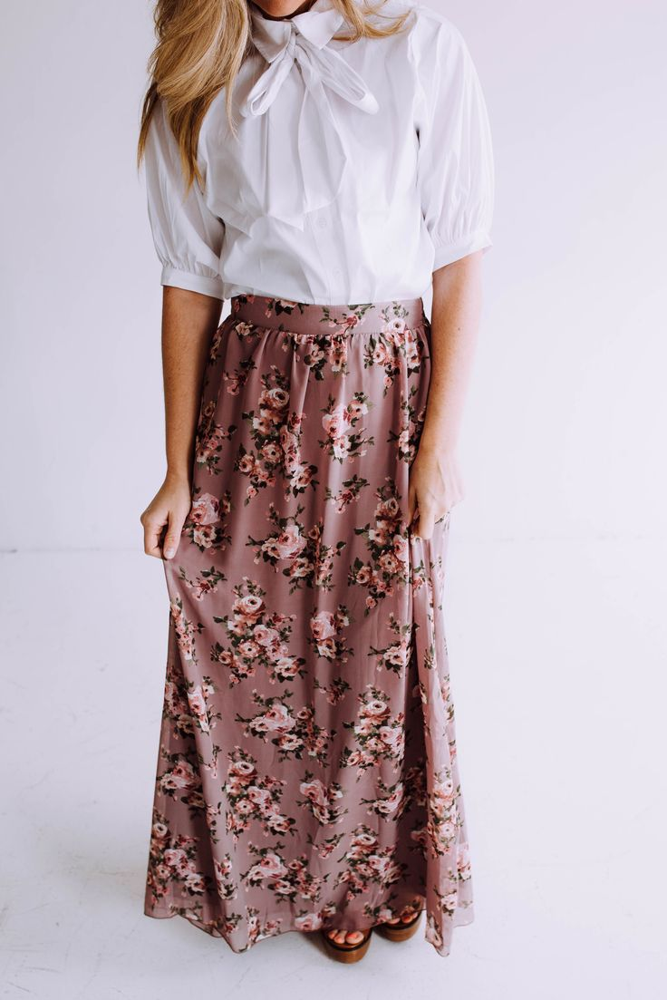 Lila Floral Maxi Skirt