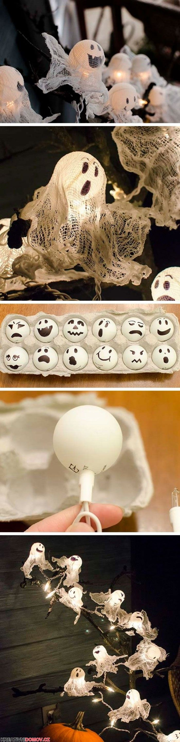 Mini Ghost Lights with ping pong balls. Like the different faces.