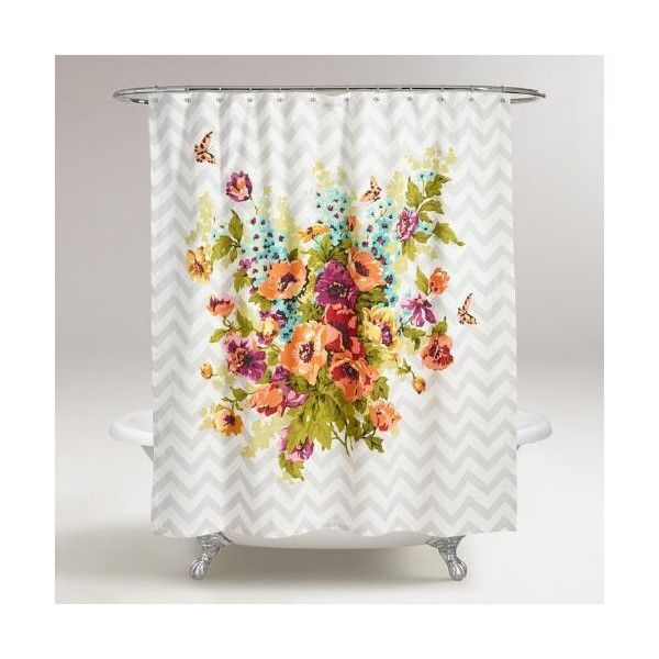 Cost Plus World Market Floribunda Shower Curtain (32 CAD) ❤ liked on Polyvore featuring home, bed & bath, bath, shower curtains, grey, gray shower curtains, floral shower curtains, cost plus world market, grey shower curtains and chevron shower curtains
