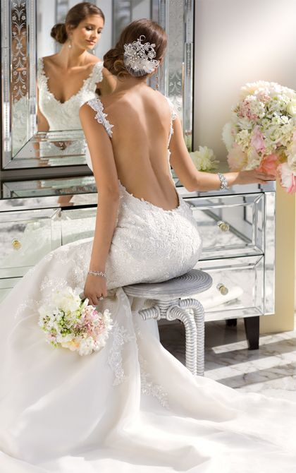 Decadent beaded fit and flare low back wedding dress by Essense of Australia features a sweetheart neckline and fitted bodice. (Style D1616)
