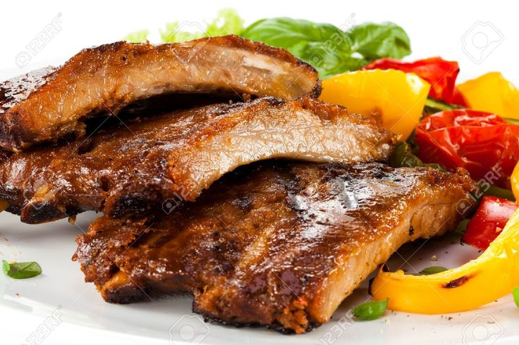 Tasty Grilled Ribs With Vegetables Stock Photo, Picture And Royalty Free Image. Pic 15405970.