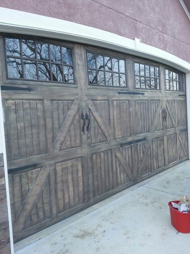 Faux wood paint on our garage door arts crafts for How to paint faux wood garage doors