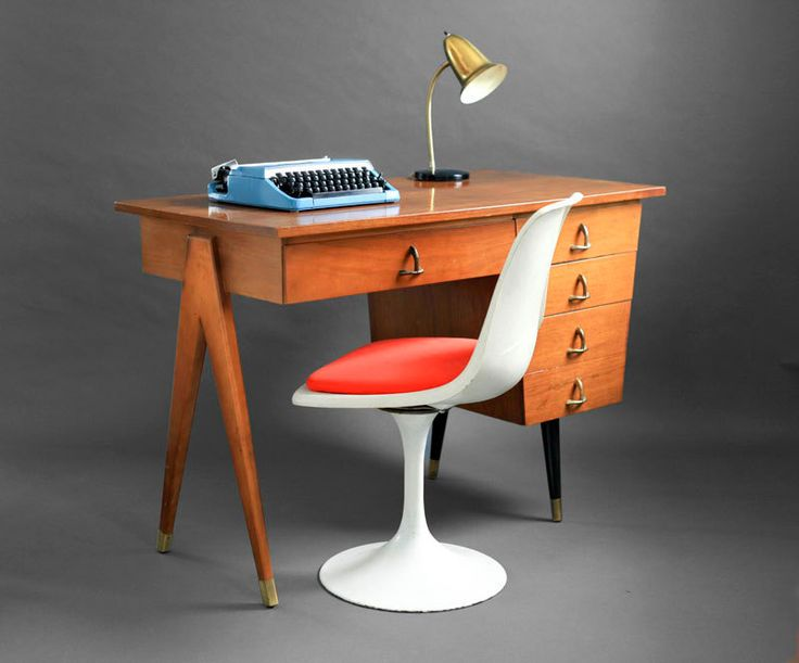 Mid century maple office desk wood modern eames retro - Retro office desk ...