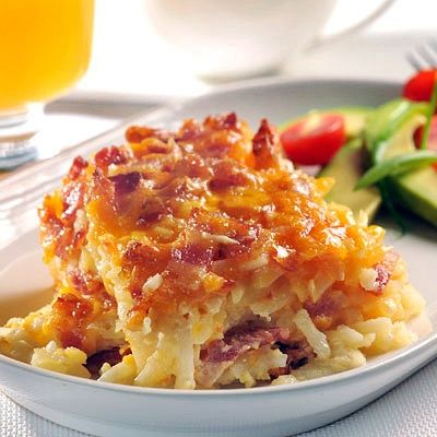 Potato bacon breakfast casserole  Ingredients for 6 servings:  4 cups frozen shredded hash brown potatoes 1/2 cup finely chopped onion 8 ounces bacon or t