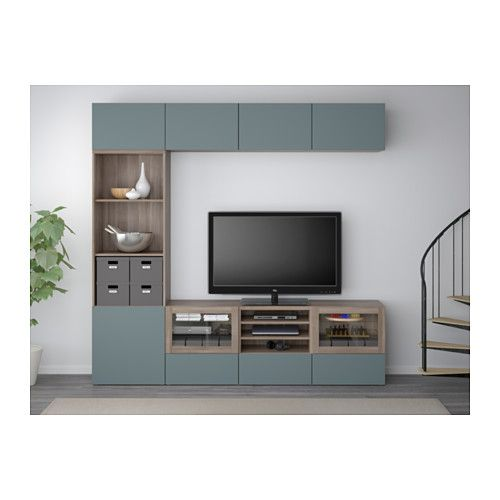 "BESTÅ TV storage combination/glass doors - 94 1/2x15 3/4x90 1/2 "", walnut effect light gray/Valviken gray-turquoise clear glass, drawer runner, push-open - IKEA"