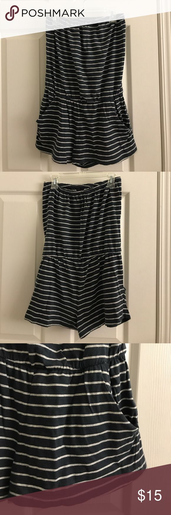 Navy Striped Romper Forever 21 / Heritage 1981 navy blue white striped romper w/ pockets. Worn lightly, strapless, and soft cotton fabric. All offers considered! Heritage 1981 Pants Jumpsuits & Rompers