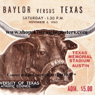 Texas Longhorn Gift Ideas, Fathers Day Ideas 2013. Father's Day gifts under $40. 1965 Baylor vs. Texas Football Ticket Coasters.™ The Longhorns won 35-14 in Austin.  #47straight #fathersday2013 #fathersdaygifts Unique Father's Day sports gifts.