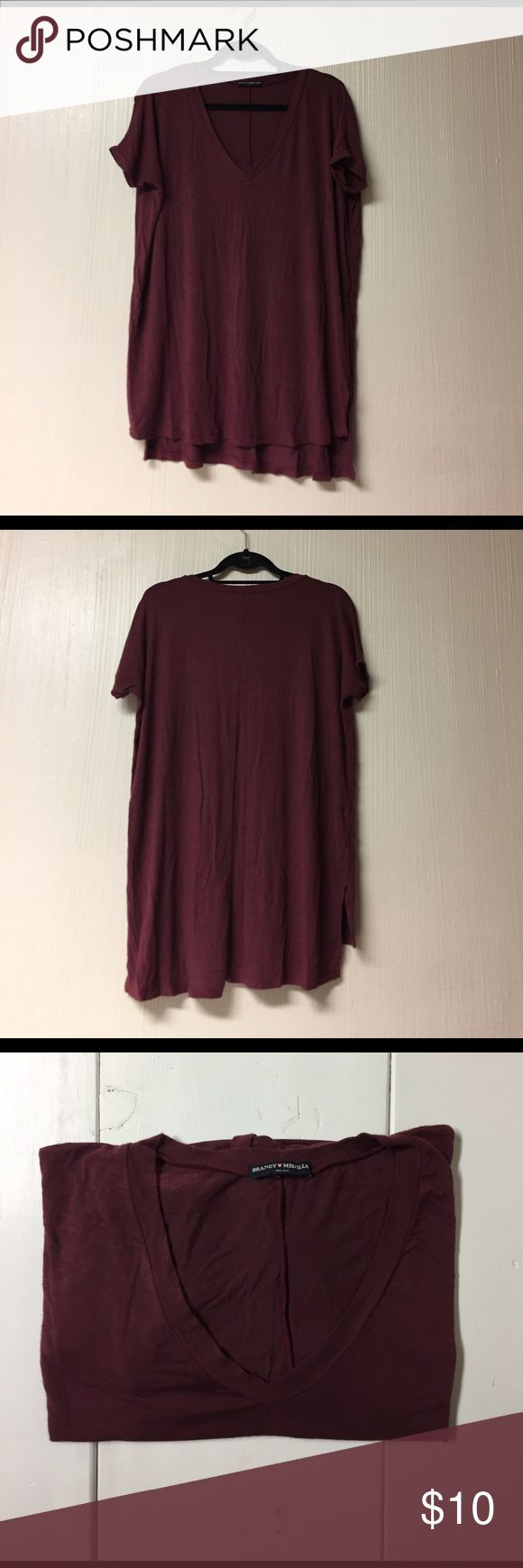 Brandy Melville Milan Maroon Tee Comfy, soft BM tee! - Oversize fit - Great for spring & summer - V neck with side slits hi/low cut - Made of 60% cotton, 40% micromodal - Good condition, inevitable pilling on tee (see pic) - Please ask any questions! Brandy Melville Tops