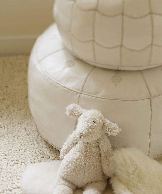White Moroccan Leather Pouf. Impossibly chic. #serenaandlily