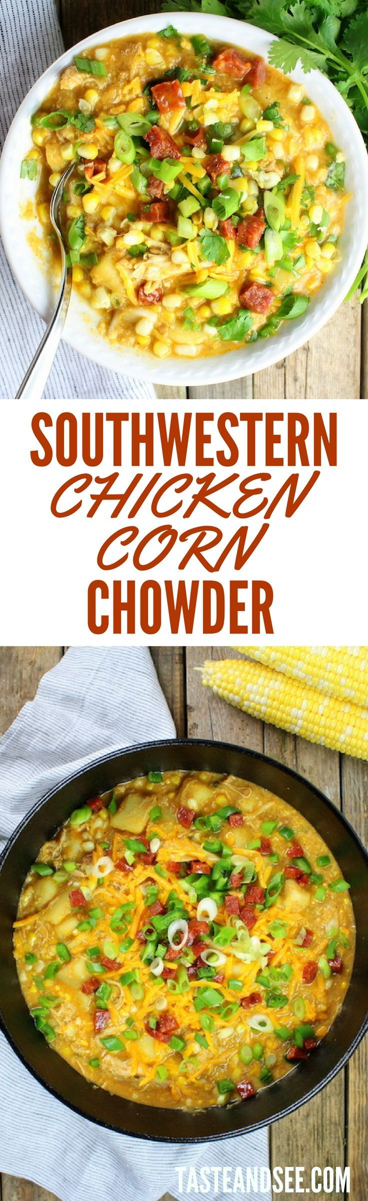 Southwestern Chicken Corn Chowder = sweet, hearty, flavorful meal all in 1 big bright sunny pot!  With Chicken, Potatoes, Corn, Chorizo, Squash, Onion, & Jalapeño. Low fat & full of tons of veggies like onions, garlic, potatoes, squash and jalapenos.  Super flavorful with zesty spices like cumin and smoky chili powder… Topped with chorizo!  #chowder http://tasteandsee.com