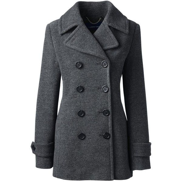 Lands' End Women's Petite Wool Peacoat found on Polyvore featuring outerwear, coats, grey, gray pea coat, gray peacoat, pea coat, gray wool coat and petite coats