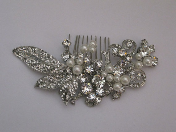 Vintage inspired pearl and leaf pattern with by Fitzsimons5374, $145