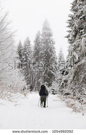 Snowy trekker in the mountains