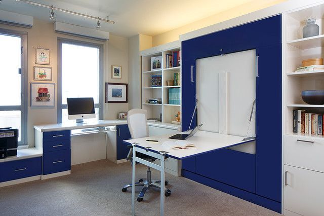 Modern Blue White Home Office Guest Room Themed Decoration