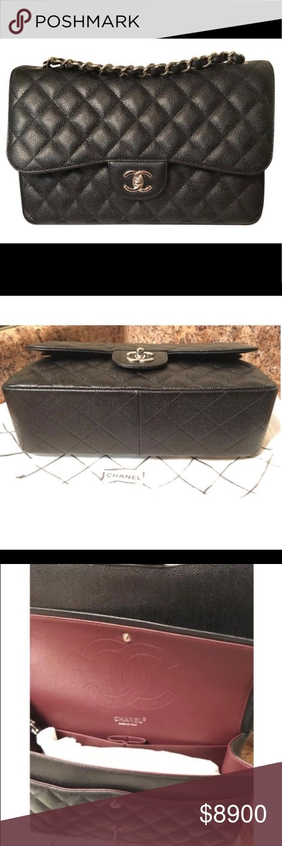 NEW CHANEL JUMBO Authentic CHANEL double flap jumbo black caviar leather silver hardware comes with everything ships out asap. ❌No trades❌ CHANEL Bags Shoulder Bags