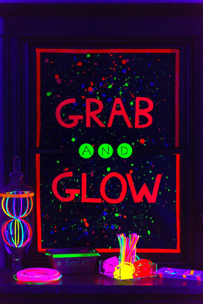 Glow grab from a Glow Dance Birthday Party on Kara's Party Ideas | KarasPartyIdeas.com (35)
