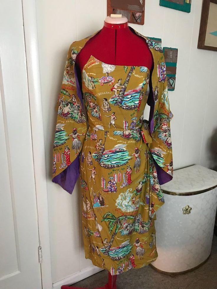 Vintage 1950s Surfriders Shaheen Fin Bust Hawaiian Sarong Dress And Shawl #Hawaiian #Hawaiian