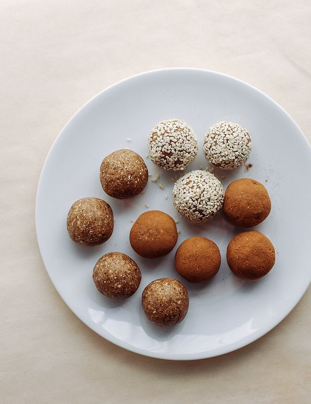 RAW GINGER SNAPS... Easy no-bake truffles for happy holidays! Roll in cinnamon, sesame seeds or leave plain...