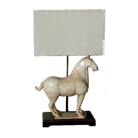 Lámpara caballo blanco roto y pantalla Ancho 55 / Fondo 30 / Alto 83