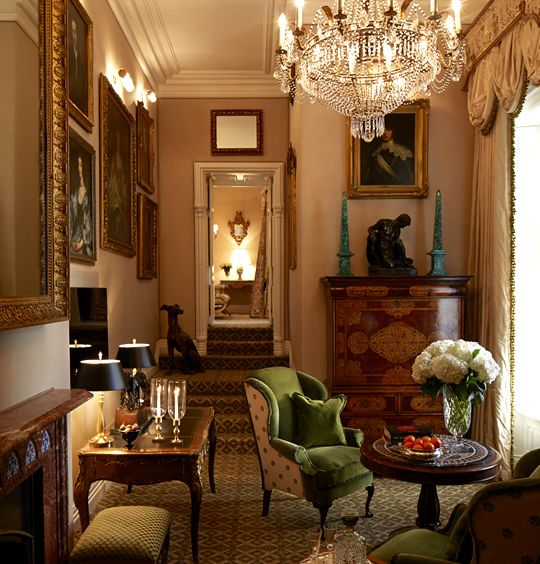 Green marble obelisks on the antique commode along the back wall! The Presidential Suite at Ashford Castle in Ireland