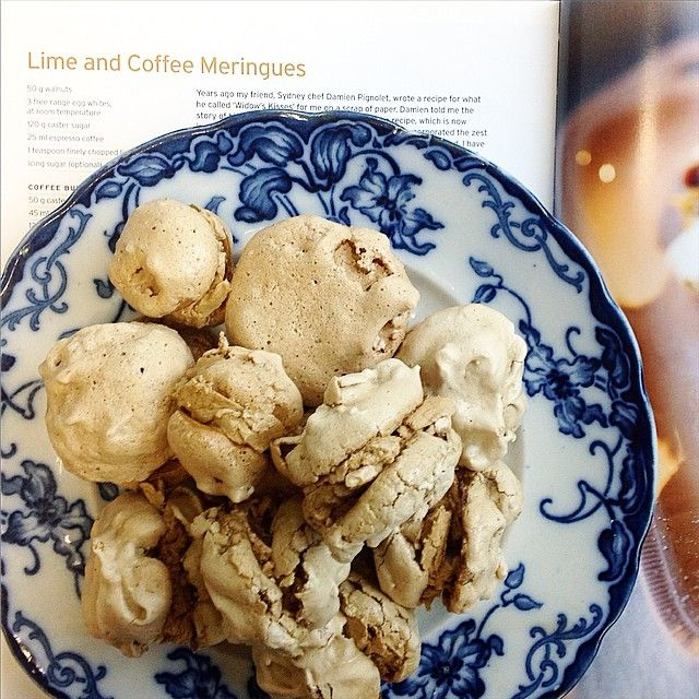 """These pillowy light mouthfuls of soft meringue and coffee cream are from Maggie's Kitchen, which has just come out in paperback. These Lime and Coffee…"""