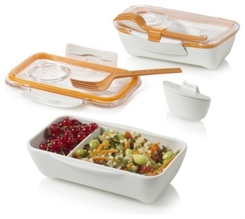 Bento Box -- The perfect little lunch box from Black-Blum.com $17.90  Seals tight and even has a clip for its own fork!