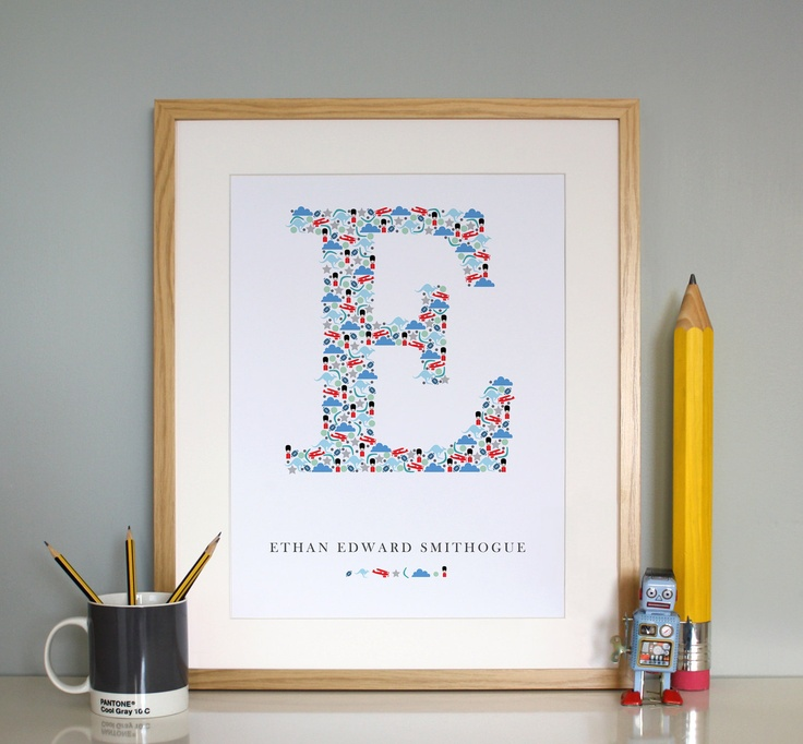 33 best london british themed nursery toddler room images on custom monogram print by onelittledickybird im trying hard to be super productive with work and the last of our summer activit negle Image collections