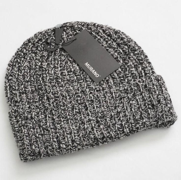 Murano Men's Black Cable Knit Merino Wool Blend Winter Beanie Hat One Size #Murano #Beanie