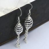 Spiral Dangle Silver Earrings