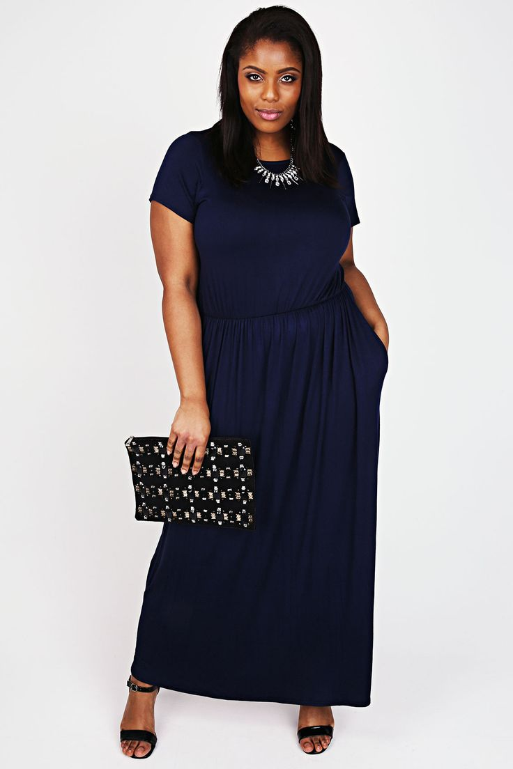 Navy Cap Sleeved Blouson Waist Maxi Dress With Side Pockets