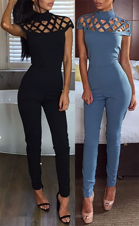 Fashion Women High Neck Caged Hollow Out Jumpsuit Jumper