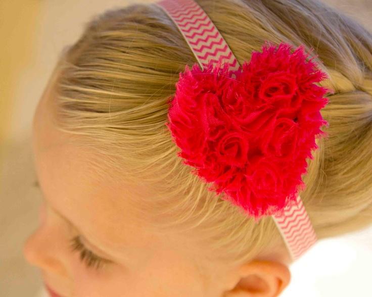 Valentine's Day Shabby Flower Heart With Pink Chevron Headband.