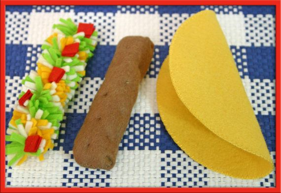 Natural Wool Felt Play Food  Taco   Waldorf Inspired by EvaLauryn,